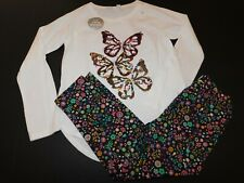 NWT GAP Girl's 2 Pc Flip Sequin Top/Floral Crop Leggings XL/12 New Free Shipping