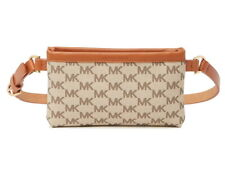 NEW MICHAEL KORS FANNY PACK BELT BAG MK LOGO BEIGE/LUGGAGE LEATHER 551749 Sz M L