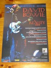 DAVID BOWIE - 2004  AUSTRALIA TOUR - SIGNED AUTOGRAPHED  Laminated Poster