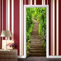 3D Door Sticker Wall Decals Mural Wallpaper Self Adhesive Home Decor Stone Step