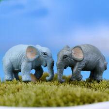 Artificial 2pcs Elephant Miniature Garden Yard Lawn Ornament Decoration Figurine