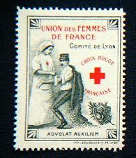 1915/18 WWI Military RED CROSS Nurse stamp cinderella Union de Femmes - Lyon
