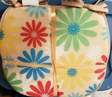 """Set of 4 Chair Pads Cushions w/ strings, Multi-Color Flowers # 3, 15"""" x 15"""", Bh"""