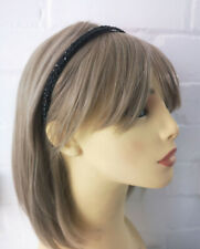 Stunning 8mm wide black plastic- black diamante - crystal headband - aliceband