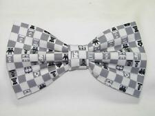 (1) PRE-TIED BOW TIE - CHECKMATE! CHESS SET ON GRAY & WHITE CHECKERBOARD