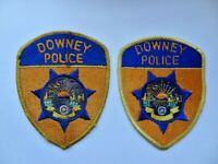 2 Vintage California Downey Police PD 1st Issue Star Patches Cheese Cloth Used
