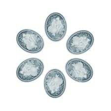 Resin Flatback Cameo Princess and Prince 40x30x6mm  OBRB0693 4pcs Gray and White