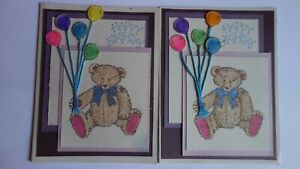 Lot 2 Handmade Birthday Card Bear Holding Balloons Horns to Blow Stampin Up