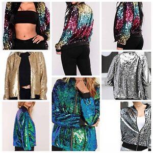 Ladies Women's Sequin Glitter Bomber Jacket Club Dance Party Biker Jacket Top