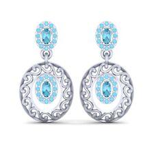 Aqua Diamond Drop Dangle Earrings Gift For Girls White Gold Wedding Jewelry Gift
