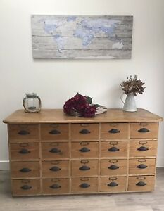 ANTIQUE APOTHECARY CABINET CHEST BANK OF DRAWERS. 1900s. PINE