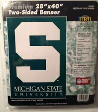 "Michigan State House Banner 28"" x 40"" Sleeve 2 Sided Big Ten College MSU"