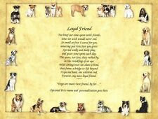 """Loyal Friend"" Memorial Poem for the Loss of a Pet Dog - Personalized"