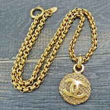 CHANEL Gold Plated CC Logos Charm Vintage Chain Necklace Pendant #5847a Rise-on