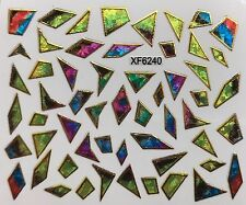 Nail Art 3D Decal Stickers Iridescent Mosaic Shapes XF6240