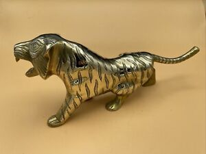 """Vintage Mid-Century Large 12"""" x 5"""" Heavy Indian Brass Tiger Ornament"""