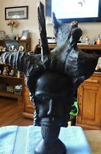 Vintage Handcarved Driftwood  Art-Tribal Leader with HeadDress-Very Detailed