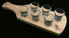 Male Runner Set of 6 Shot Glasses with Wooden Paddle Tray Holder 226