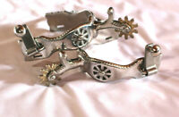 """Western Cowboy Silver Tough1 Scalloped Spurs 1 3/8"""" Shank 3/4"""" Band Rodeo Horse"""