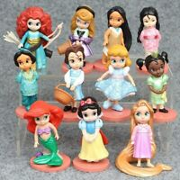 1 Set 11 Disney Princess Snow White Mermaid Rapunzel Figures Ornament Toy 8-10cm