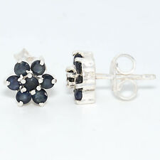 92.5 Sterling Silver Natural Blue Sapphire Glass Filled Cut Studs Earrings D-756