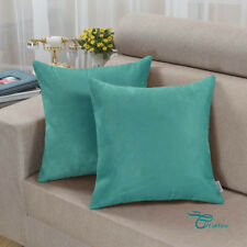 Pack of 2  Square Cushion Covers Pillow Cases Cover Heavy Faux Suede 45X45 Teal