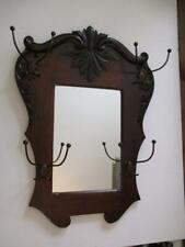 Antique Hall Tree Mirror With Original Hooks