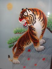 VTG CHINESE TIGER CAT EMBROIDERY TEXTILE SILK FRAMED PICTURE ORIENTAL WALL ART