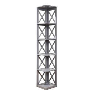 Convenience Concepts Oxford 5 Tier Corner Bookcase, Gray - 203080GY