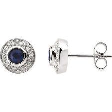 Zafiro & 1 / 10ct. Tw. Diamante Pendientes en 14k ORO BLANCO