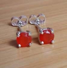 925 Sterling Silver Carnelian 5 MM Round Gemstone Stud Earring  M-41