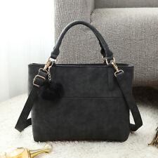 PU Leather Ladies Designer Pompom Handbag Square Satchel Shoulder Tote Bag New