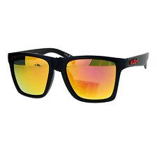 Kush Mens Color Mirrored Lens Matte Frame Rectangular Sport Horn Rim Sunglasses