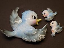 Vintage Lefton ESD Anthropomorphic Bluebirds Set of 3 Mama & Babies Wall Plaques