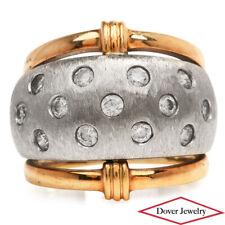 Estate White Stone 10K Two Tone Gold Elegant Wide Band Ring 7.5 Grams NR