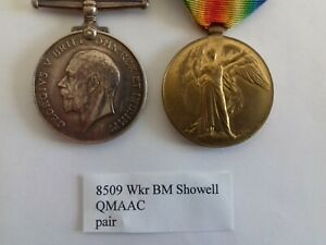 WW1 British War and Victory Medals to 8509 Wkr BM Showell, QMAAC