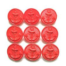 Lot de 9 boutons 19 mm - Plastique mince rouge vif ancre de marine
