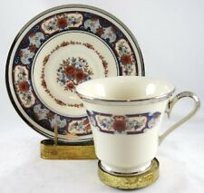 Lenox INTERLUDE, Dimension Shape, Red & Blue, Footed Cup & Saucer Set