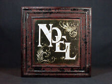 """New 10.75"""" x 10.75"""" Painted Decoupaged Aged Look Christmas Metal Wall Hanging"""