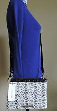 Brahmin Perri Creme Cream Aurora Black Snake Embossed Leather Cross Body NWT