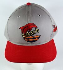 Pink Dolphin Promo Logo Gray & Red Hat, Embroidered Snapback Cap
