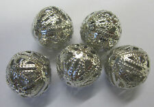 5 x 18mm Metal Filigree In SilverTone Ball Beads For Beading & Jewellery JF490