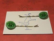 Handmade set of two green glitter button hair clips
