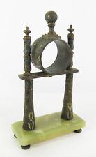 Antique European Cloisonne Enamel Brass And Marble Pillar Clock Assembly