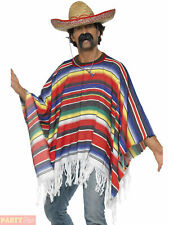Adults Poncho Costume Mens Ladies Mexican Bandit Western Fancy Dress Accessory