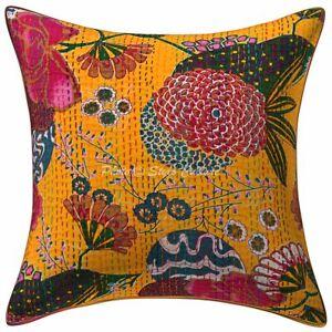 Traditional Sofa Cushion Cover 40 x 40 cm Printed Kantha Cotton Pillow Case