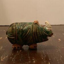 Vintage 1987 Enameled Clay Pottery Rhinoceros Figurine