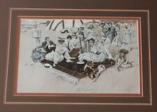 """1908 Harrison FISHER Victorian """"A PICNIC ON THE BEACH"""" Prof Framed 22""""x18"""""""