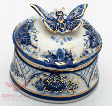 "Beautiful Gzhel Porcelain ""butterfly"" trinket Box hand-painted in blue and gold"