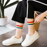 Rainbow Transparent Short Socks Women Summer Thin Glass Silk Harajuku Ankle Sock